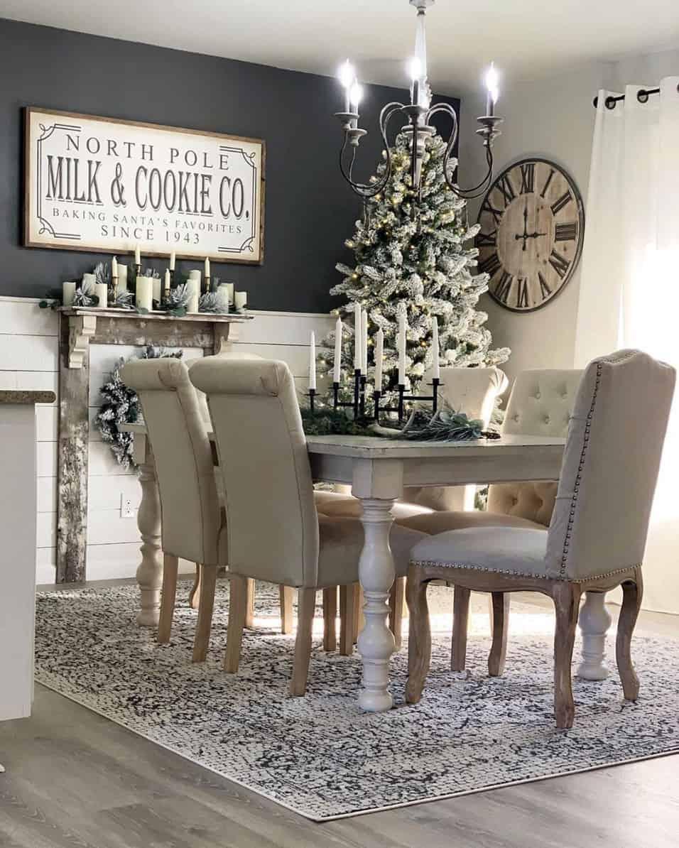 gorgeous-flocked-christmas-tree-ideas-dining-room