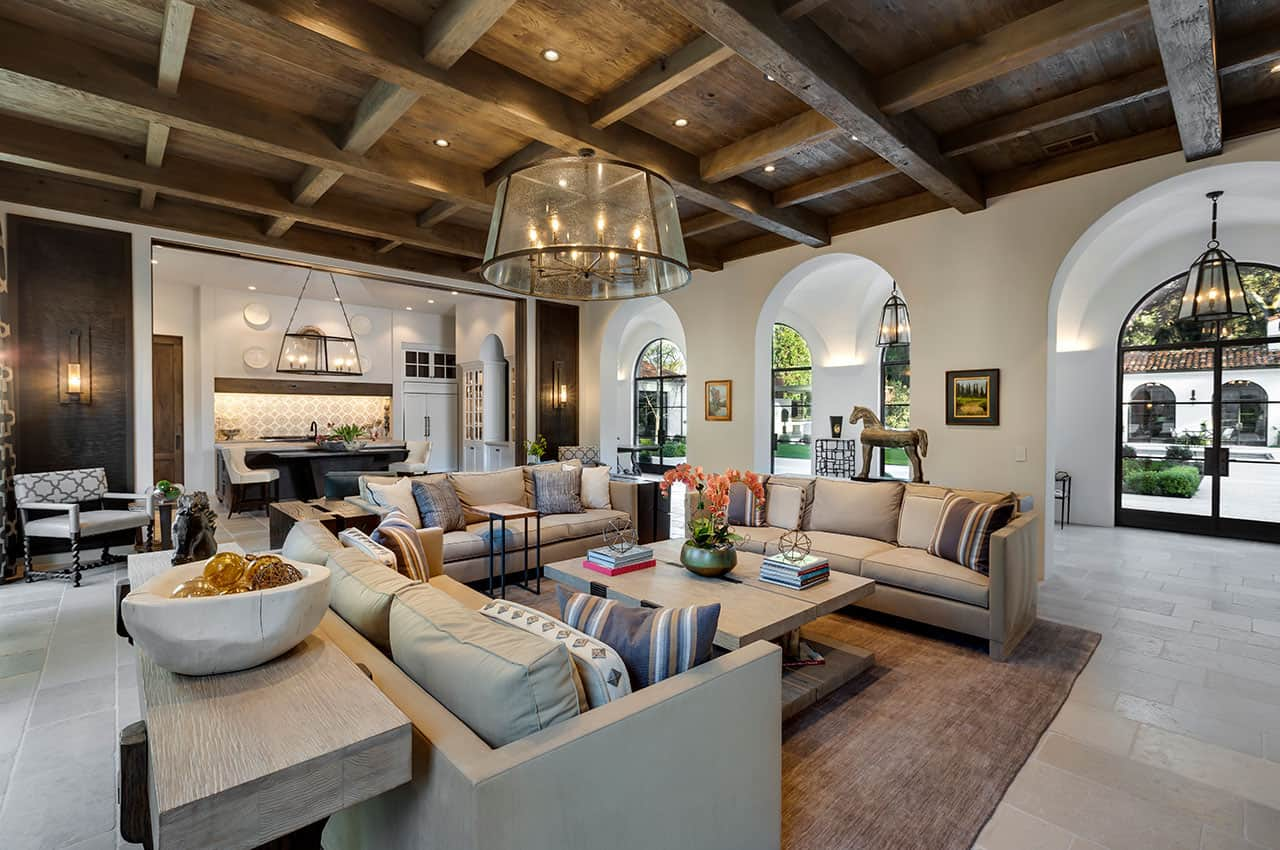 Spanish Colonial style estate in California with warm and inviting interiors