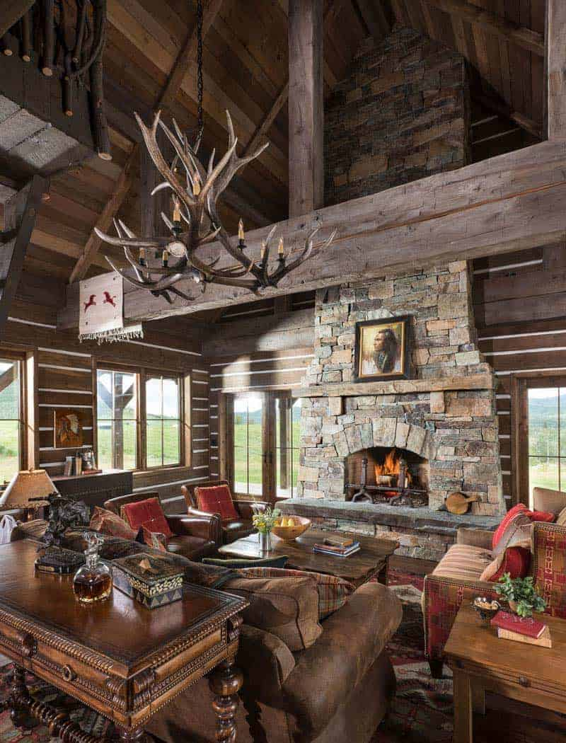 rustic-timber-frame-cabin-living-room