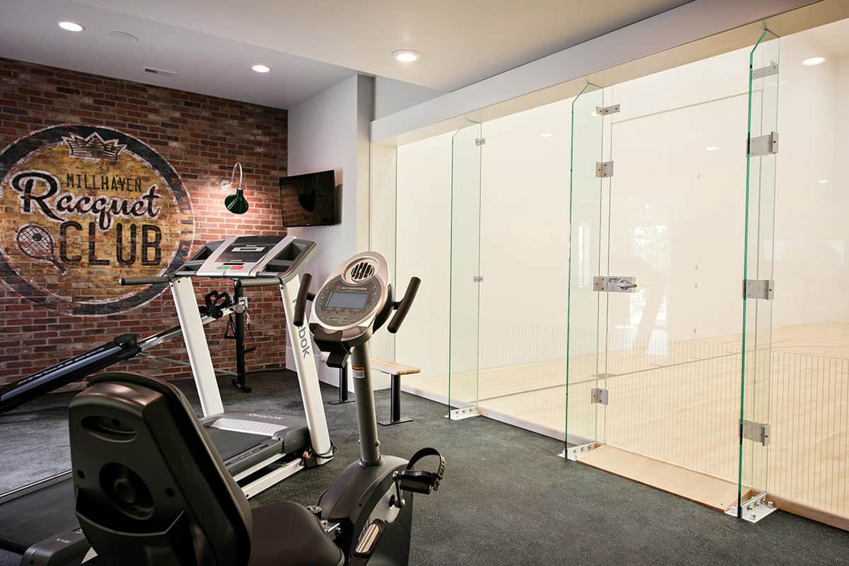 transitional-style-basement-home-gym