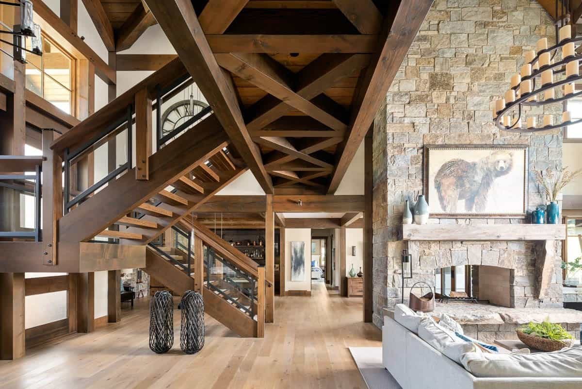 rustic-timber-frame-chalet-living-room-staircase