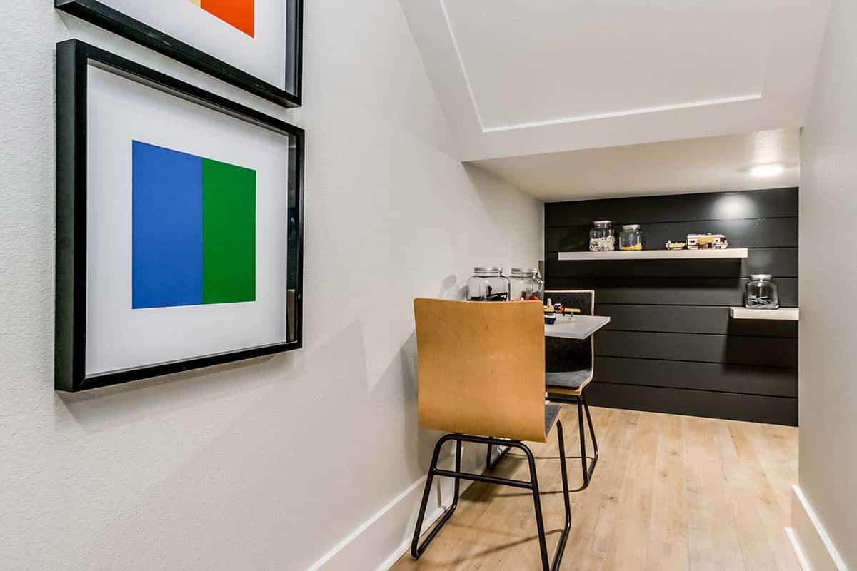 urban-farmhouse-basement-under-stairs-nook
