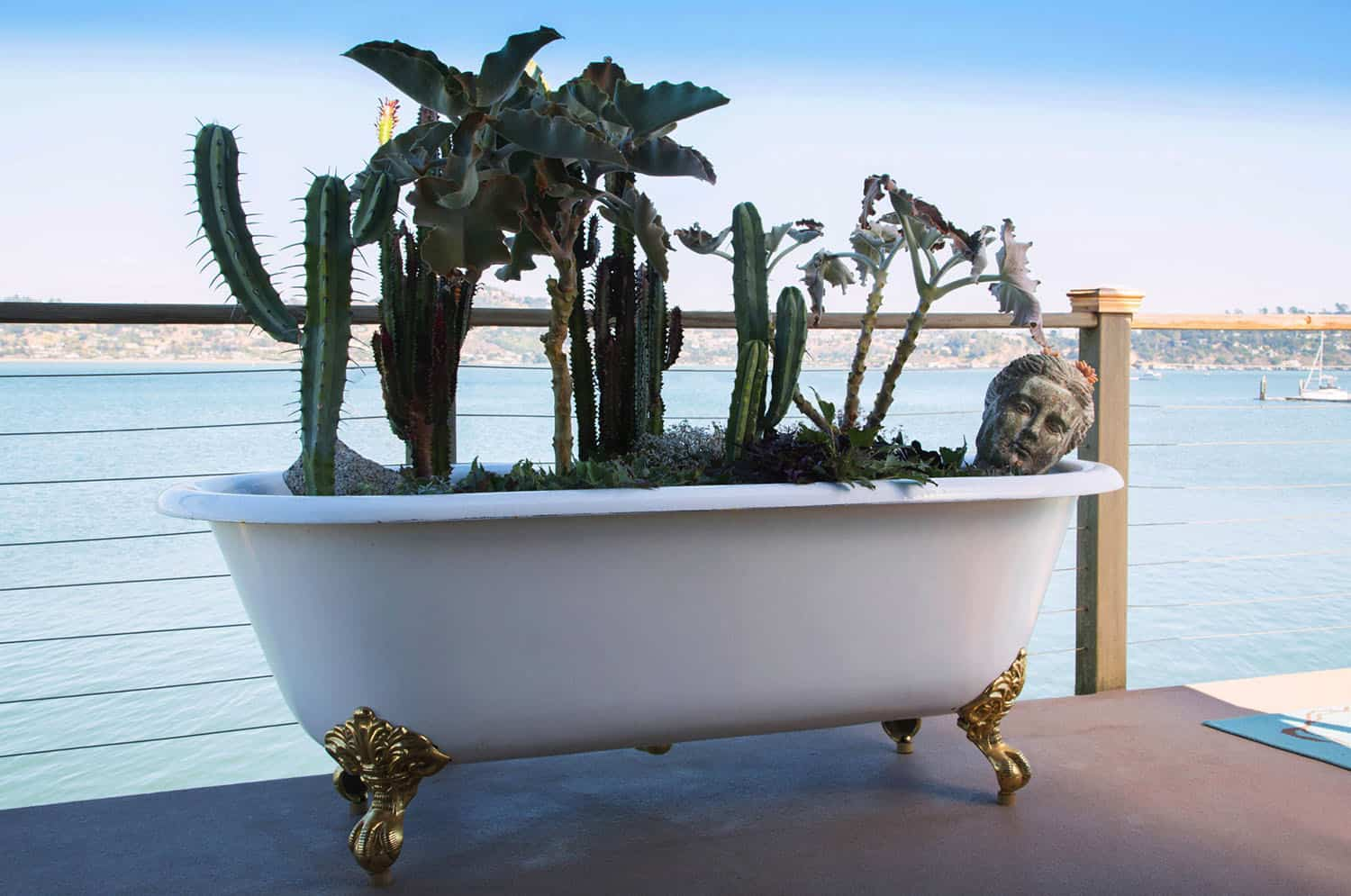 houseboat-eclectic-deck-vintage-tub-plants