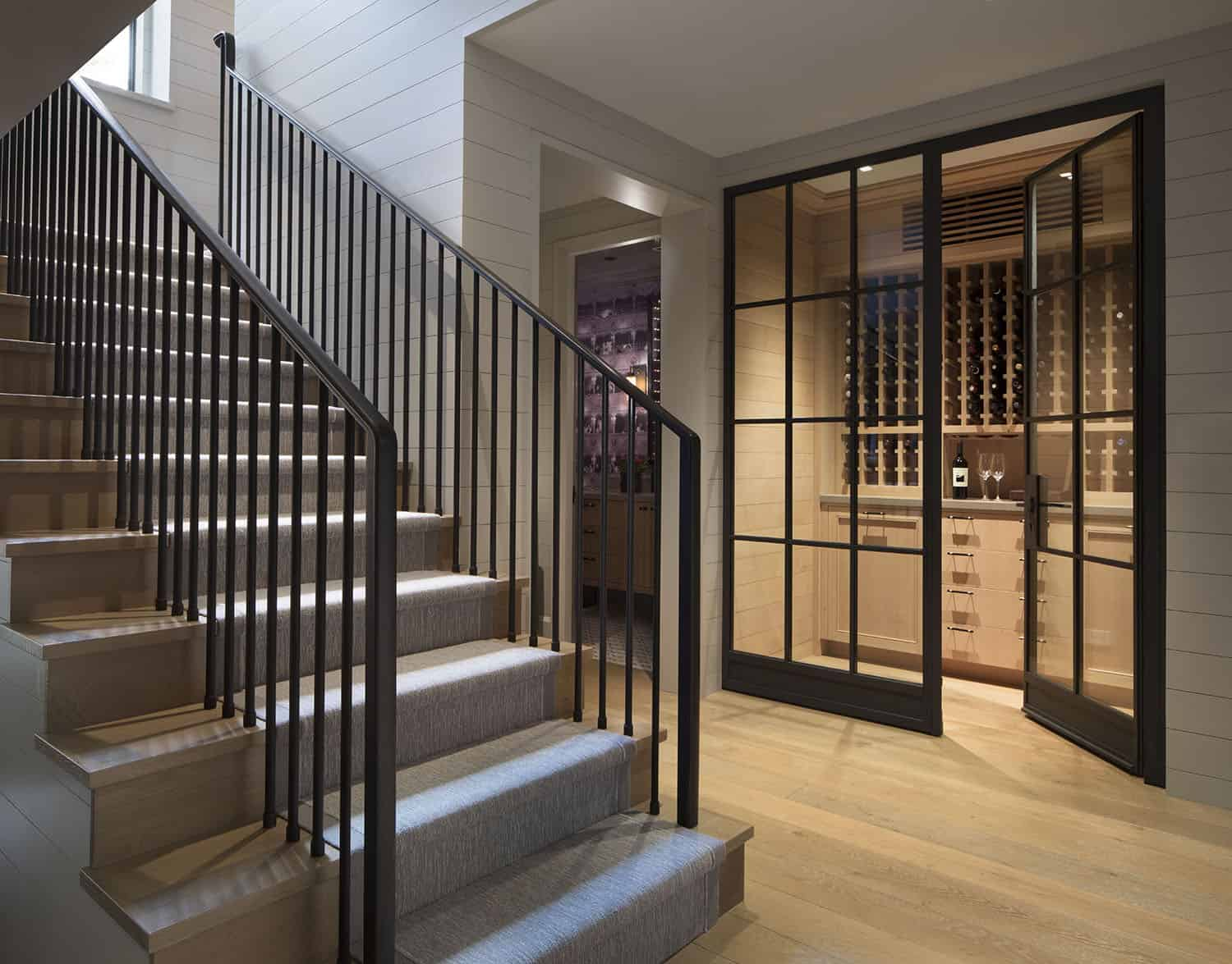 transitional-style-staircase-wine-cellar