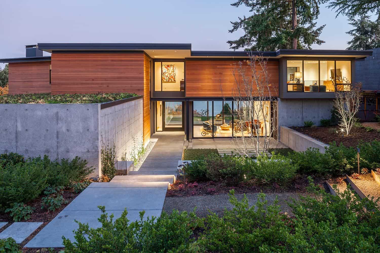 Lake Washington provides an inspiring backdrop to this modern family home