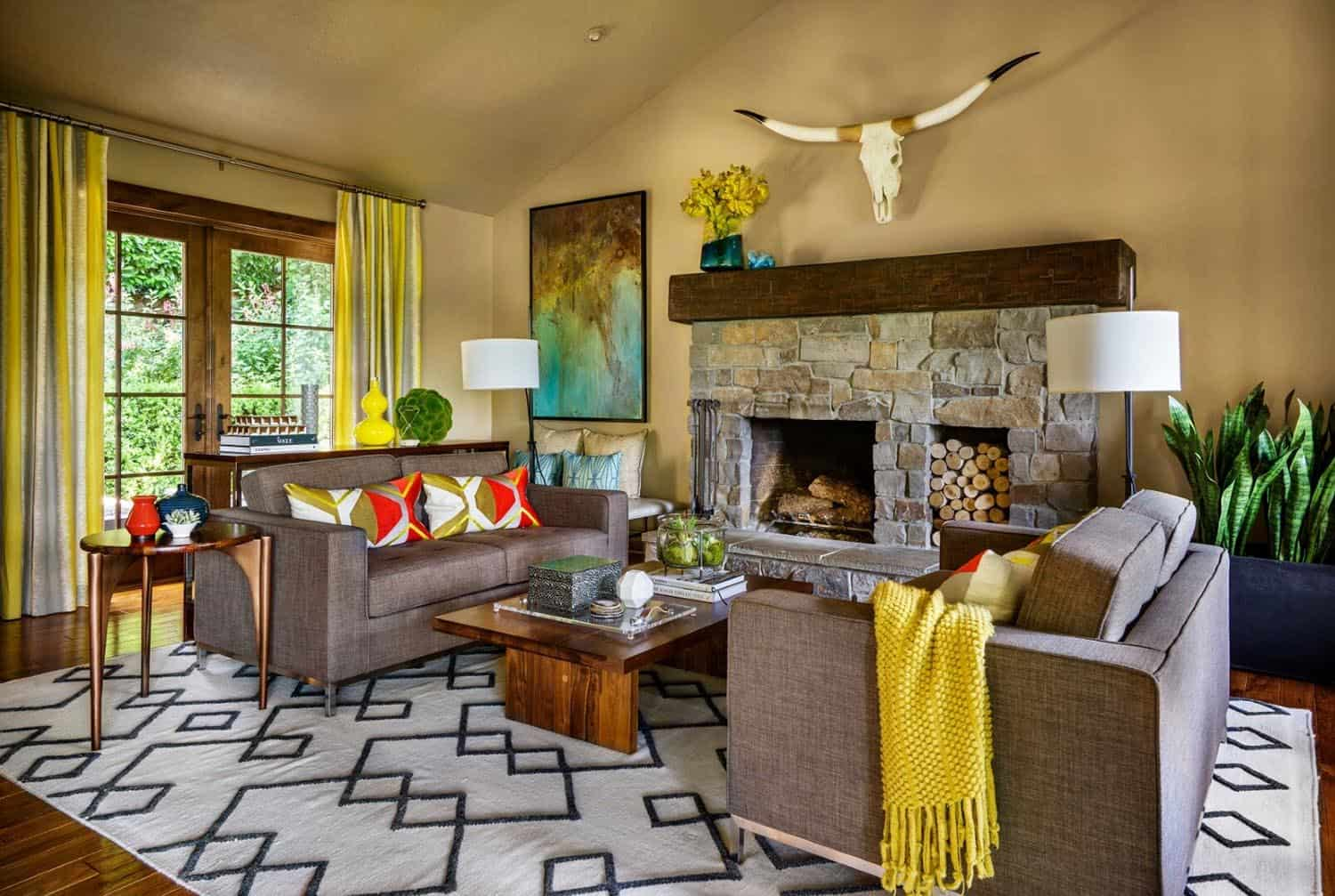 contemporary-craftsman-living-room-with-stone-fireplace