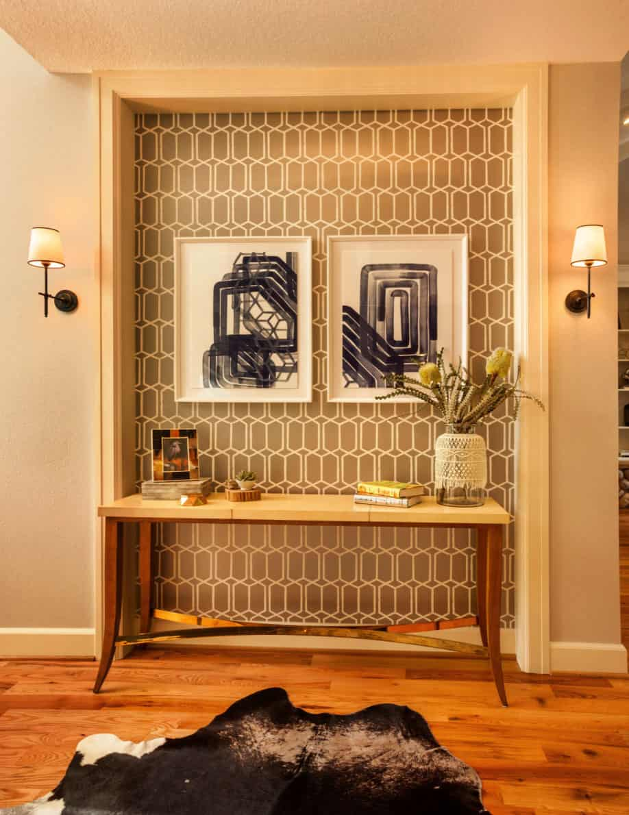 craftsman-cottage-entry-niche-remodel-with-accent-wallpaper