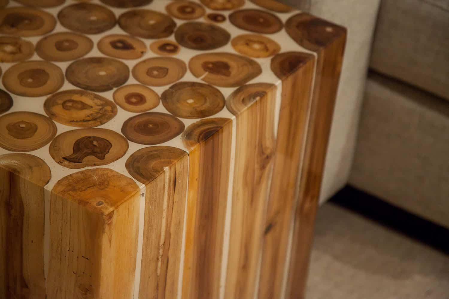 contemporary-family-room-wood-table-detail