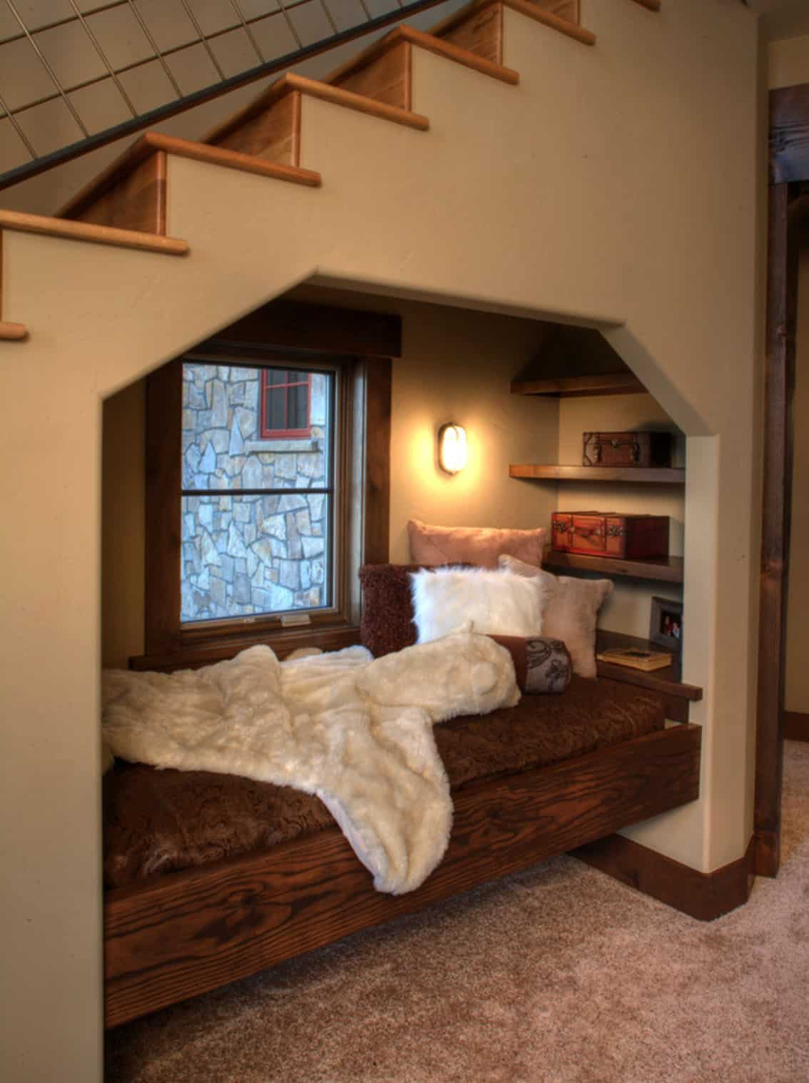 cozy-rustic-reading-nook-staircase