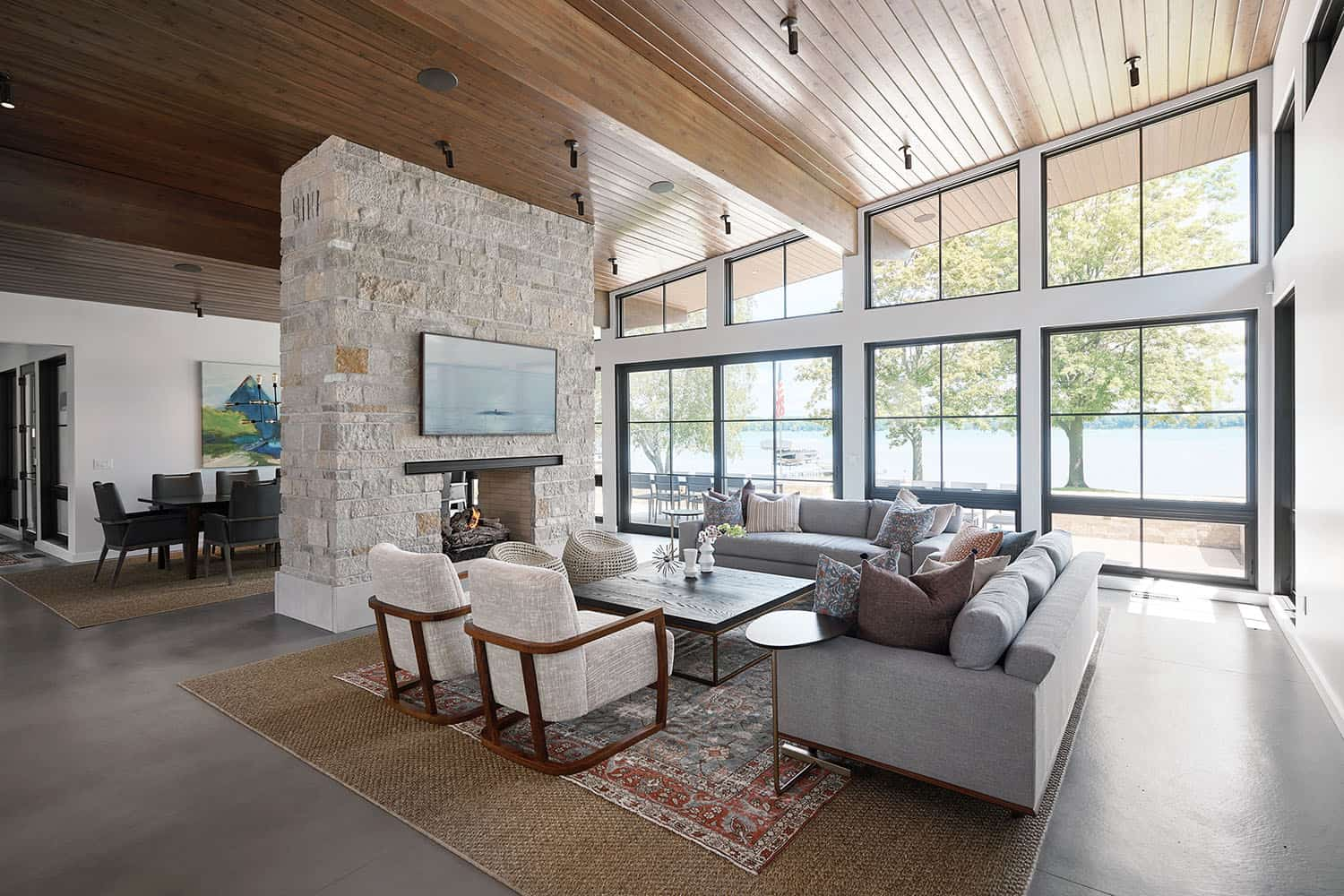 Spectacular lake house boasts midcentury design elements in Michigan