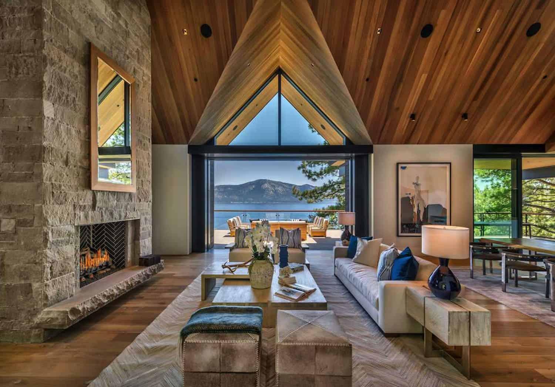 Luxury lakefront mountain home boasts panoramic views of Lake Tahoe