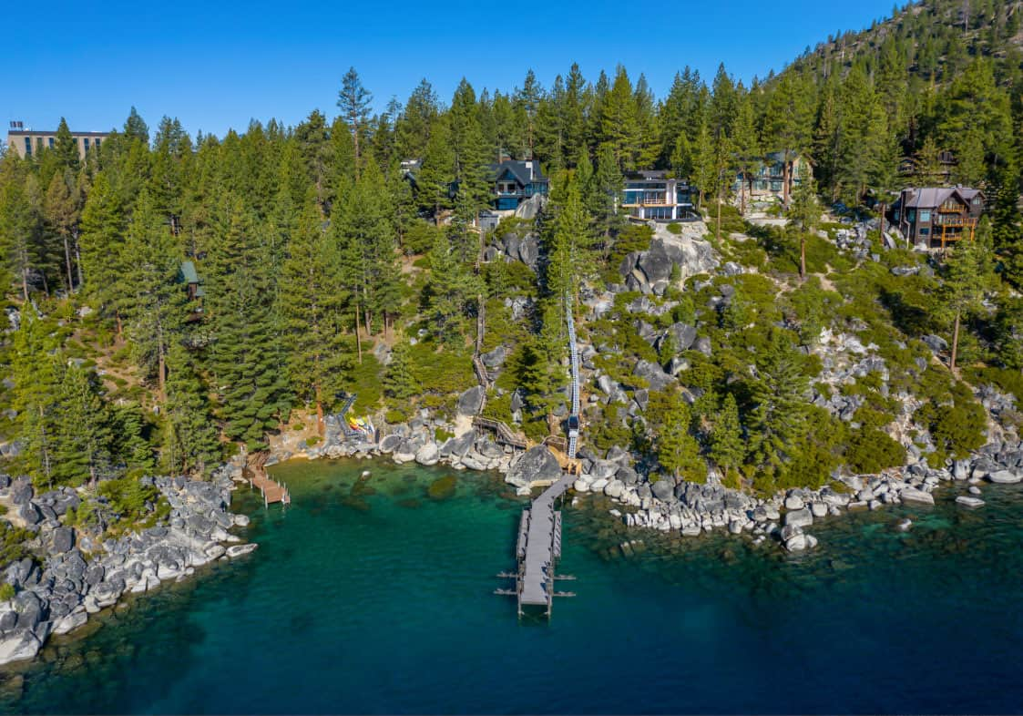 luxury-lakefront-mountain-home-aerial-view