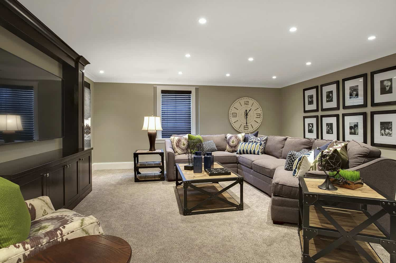traditional-basement-family-room