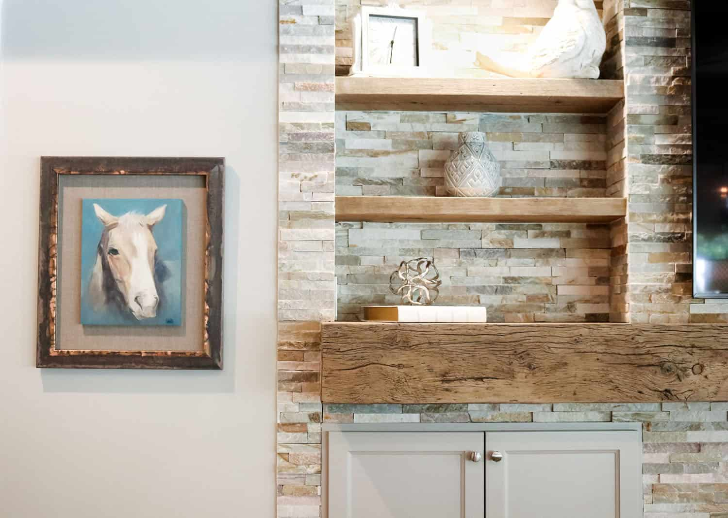 transitional-style-family-room-wall-shelves