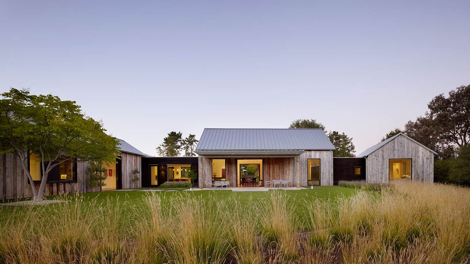 Fabulous entertainment barn in Portola Valley melds into the landscape