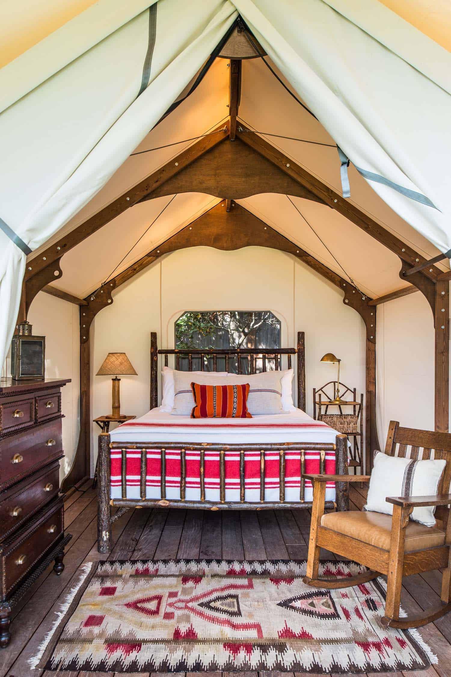 rustic camp-like retreat-tent-bedroom
