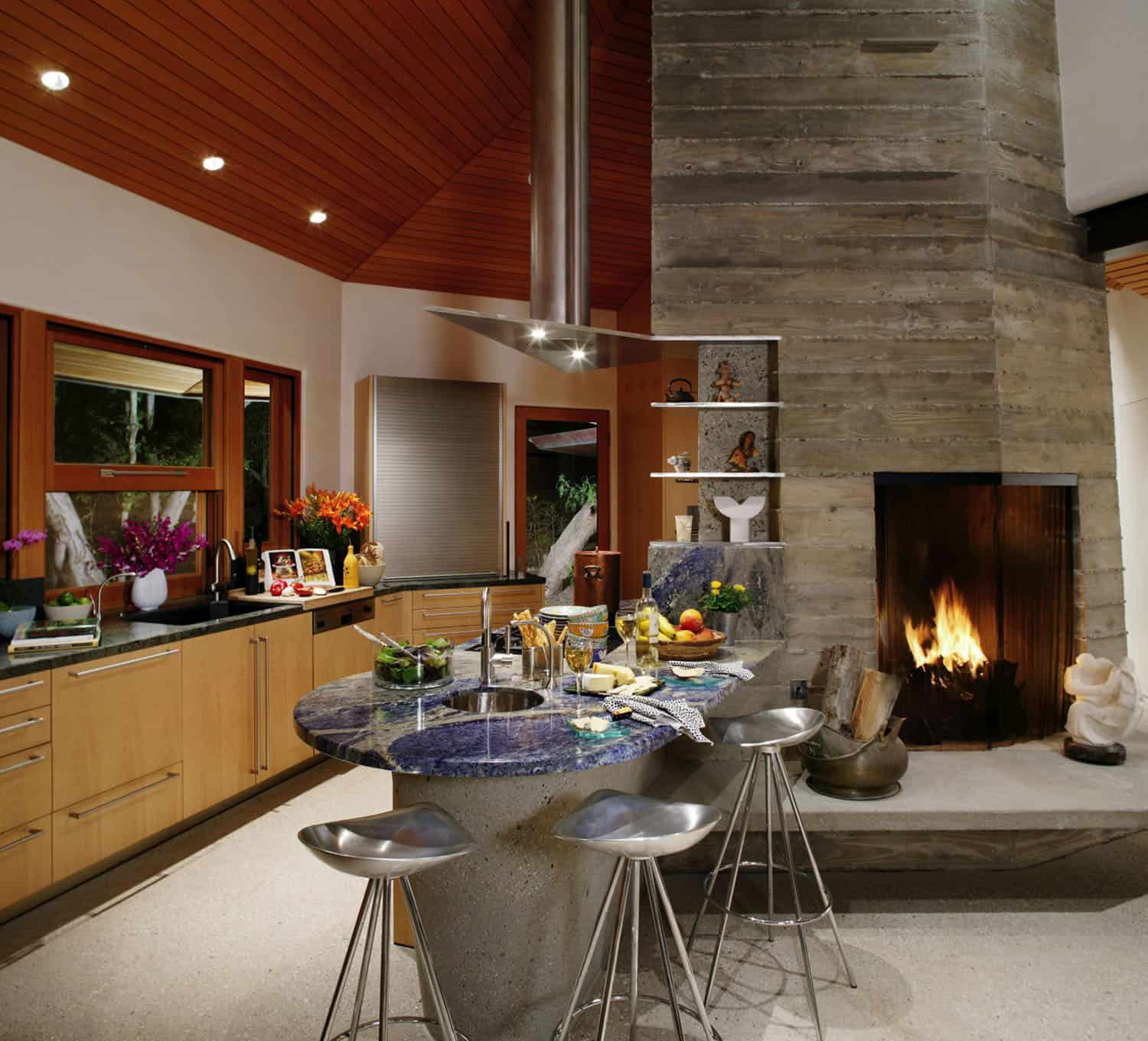 contemporary-asian-kitchen-and-fireplace