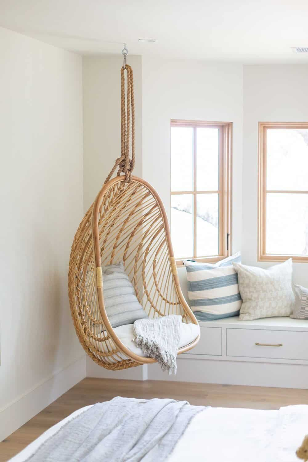 transitional-style-bedroom-hanging-chair