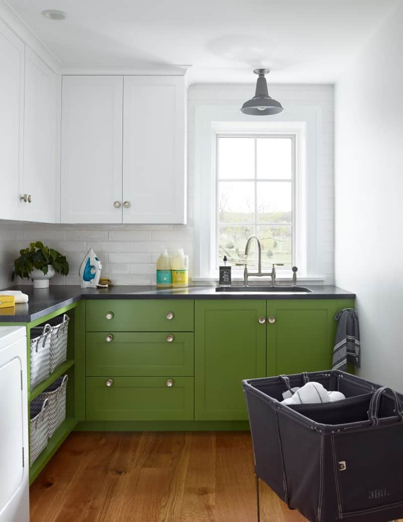 farmhouse-laundry-room-with-green-cabinets