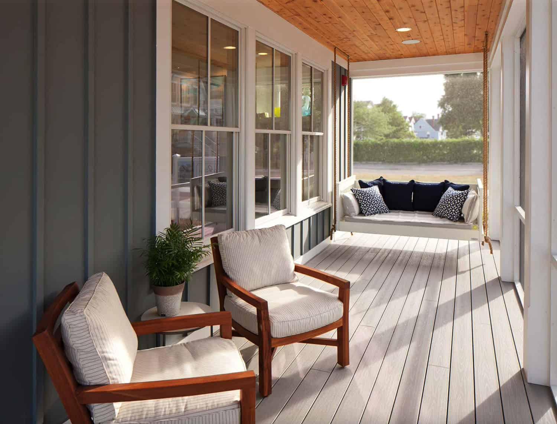 zaslon na plaži-dizajn-trijema-dizajn-s visećim krevetom