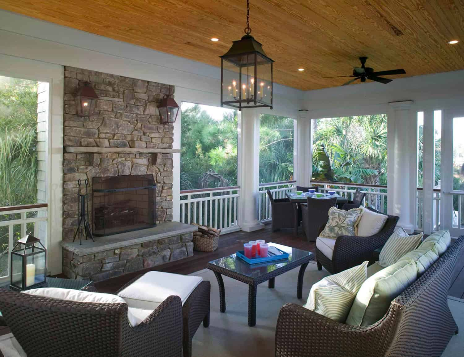 screen-porch-design-with-fireplace