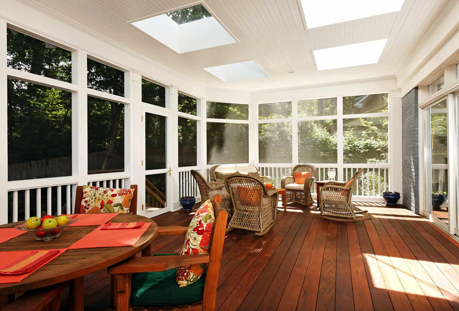 traditional-screen-porch-with-skylights