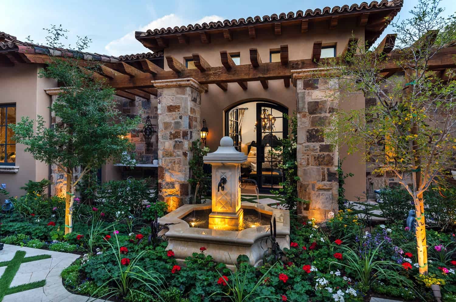 french-villa-front-courtyard-french-inspired-fountain