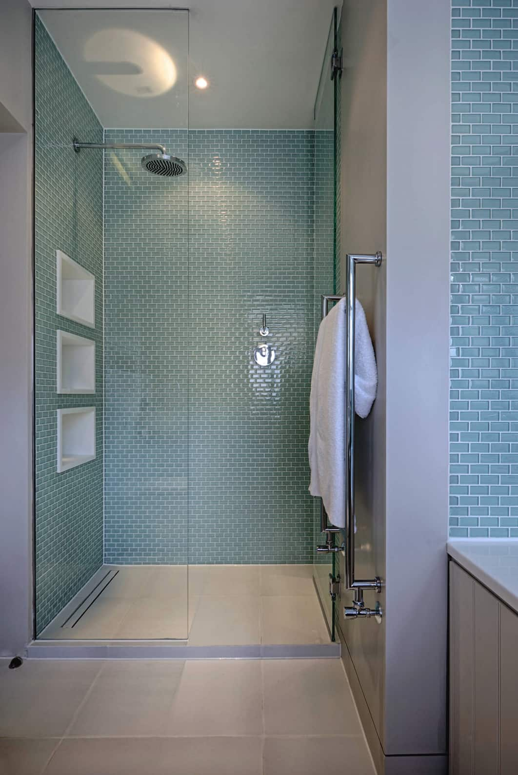 contemporary-walk-in-shower-with-blue-tile