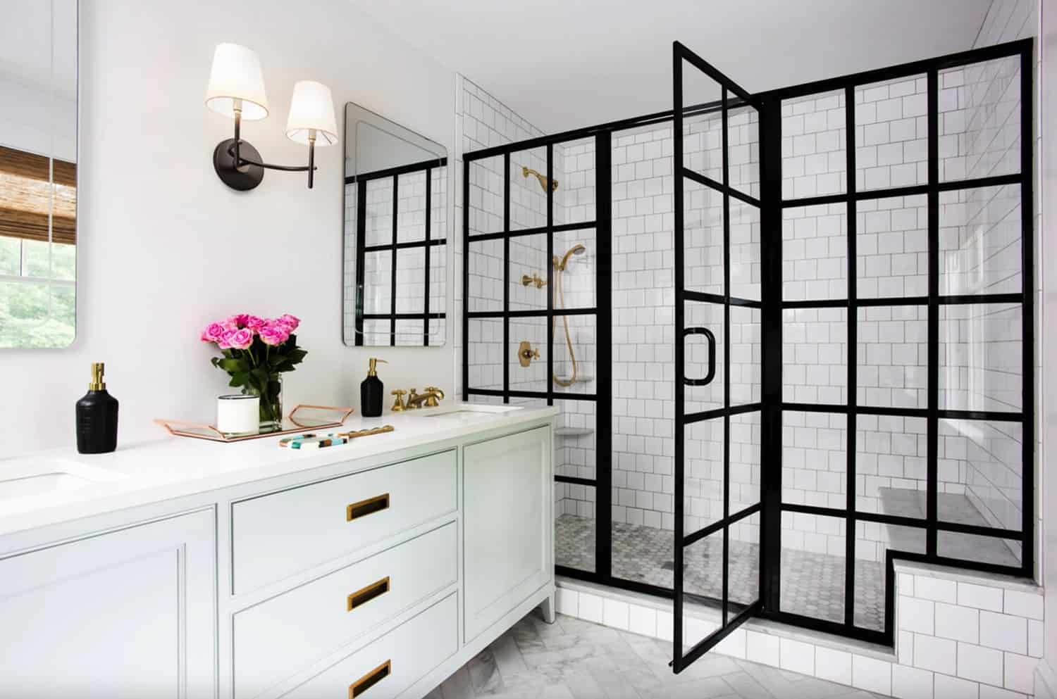 white-subway-tile-shower-and-glass-panel-doors