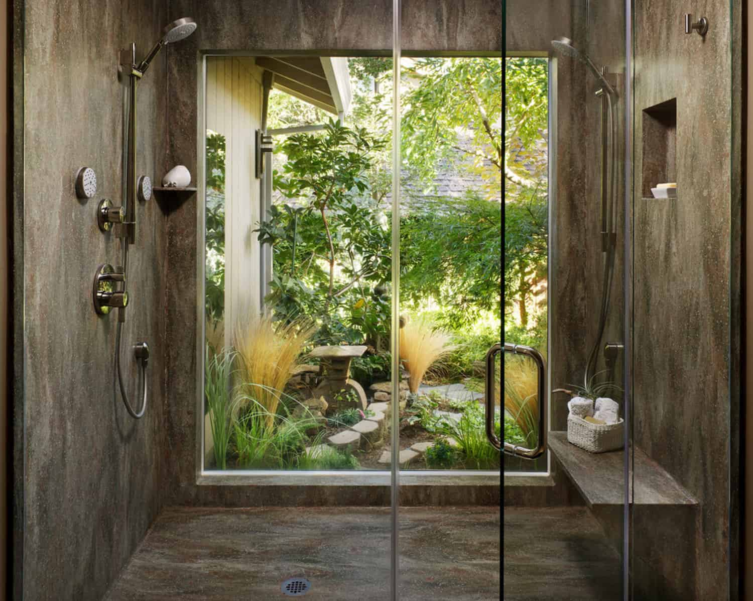 contemporary-walk-in-shower-with-a-nature-view