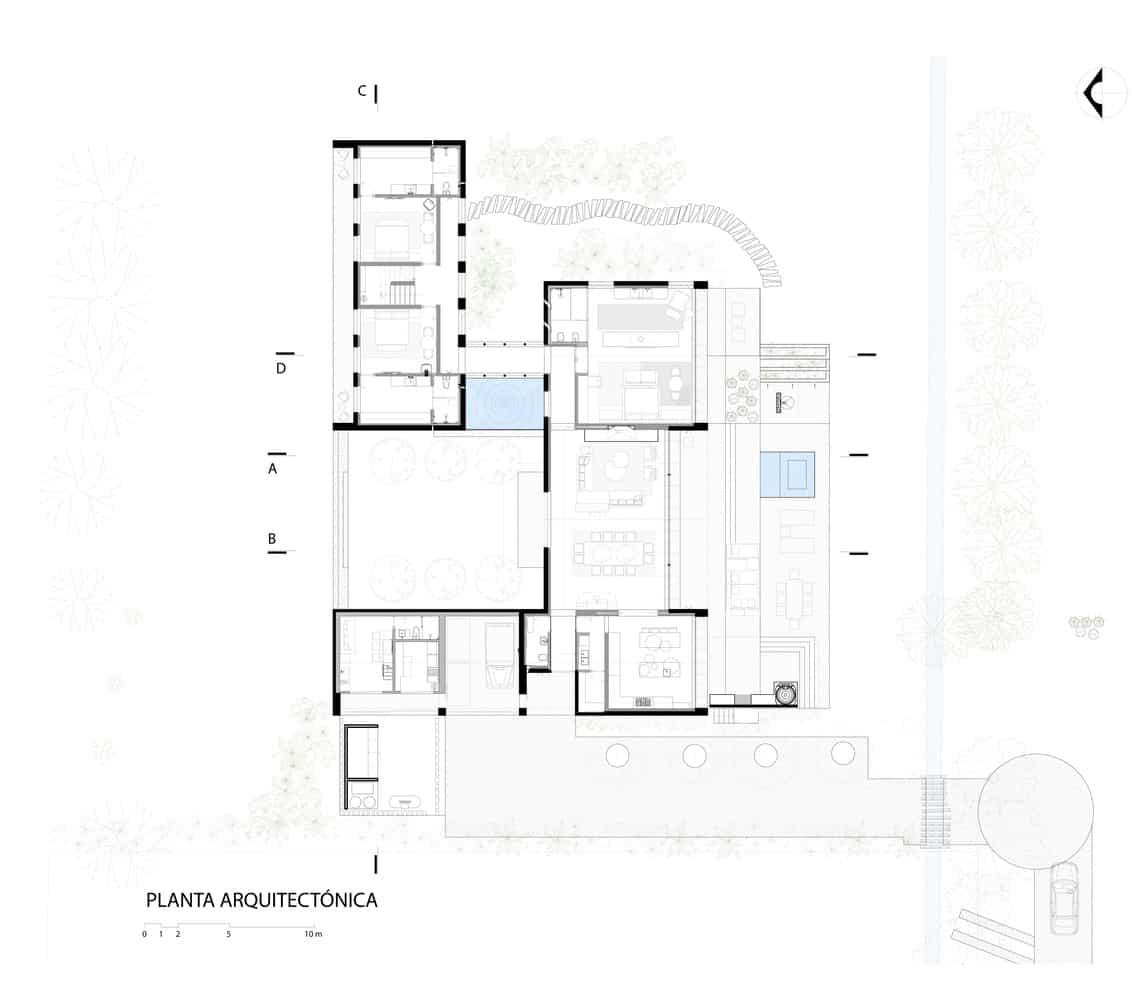 tlocrt kuće u stilu haciende