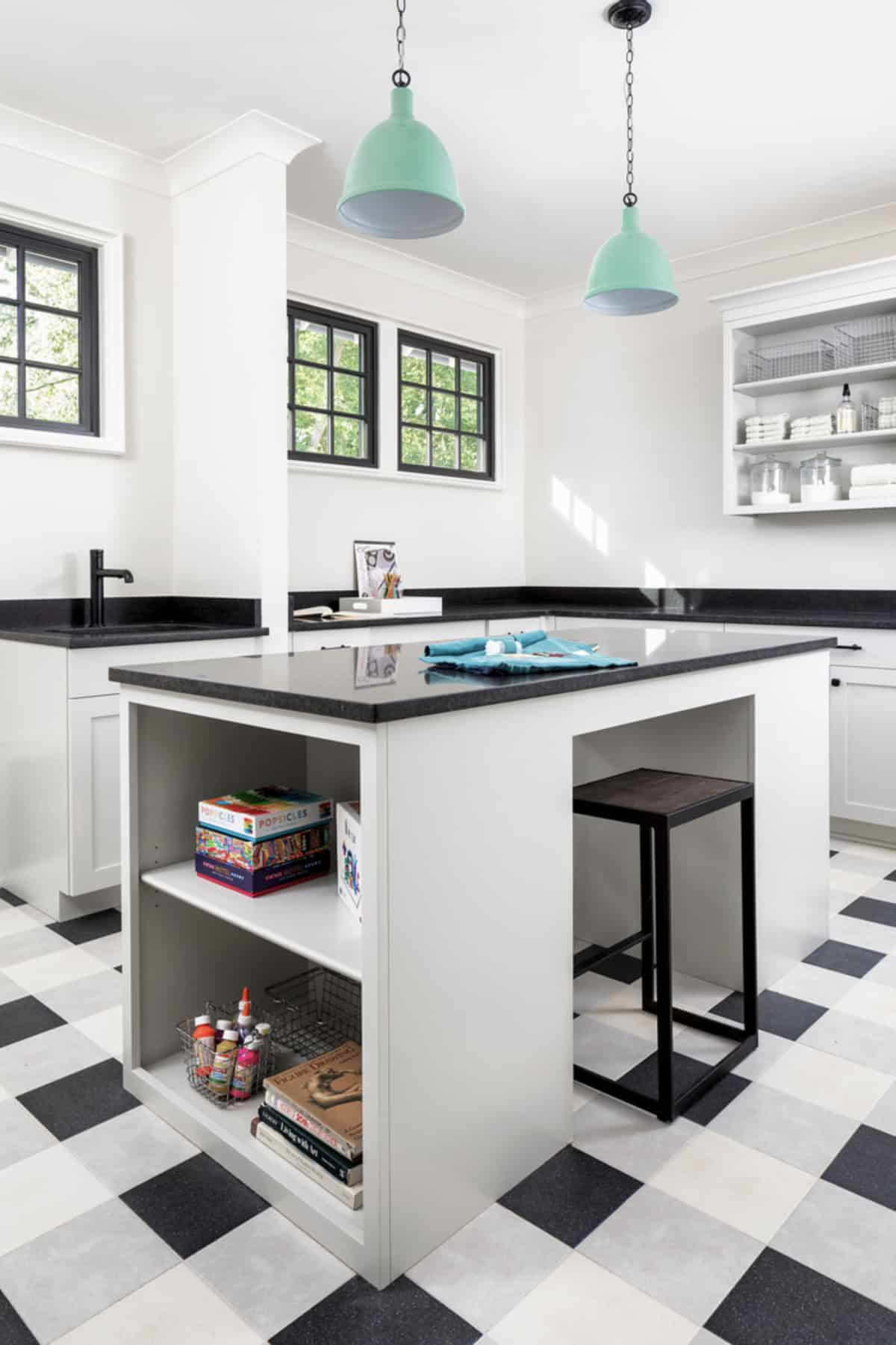 transitional-laundry-room-with-craft-table