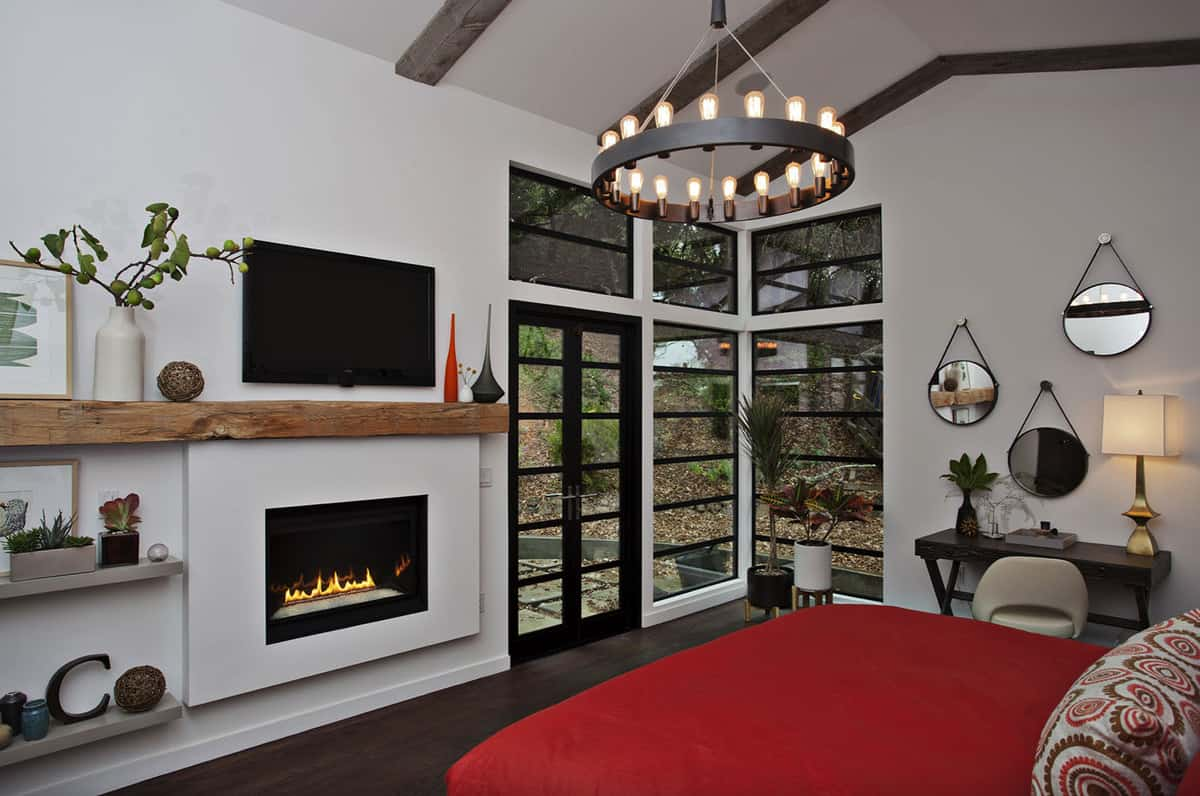 contemporary-bedroom-with-a-fireplace