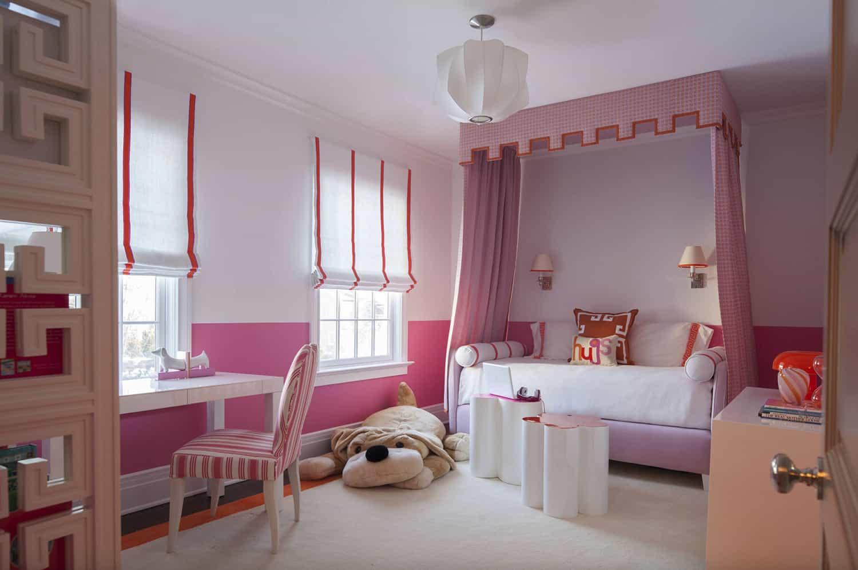 pink-white-and-orange-kids-bedroom