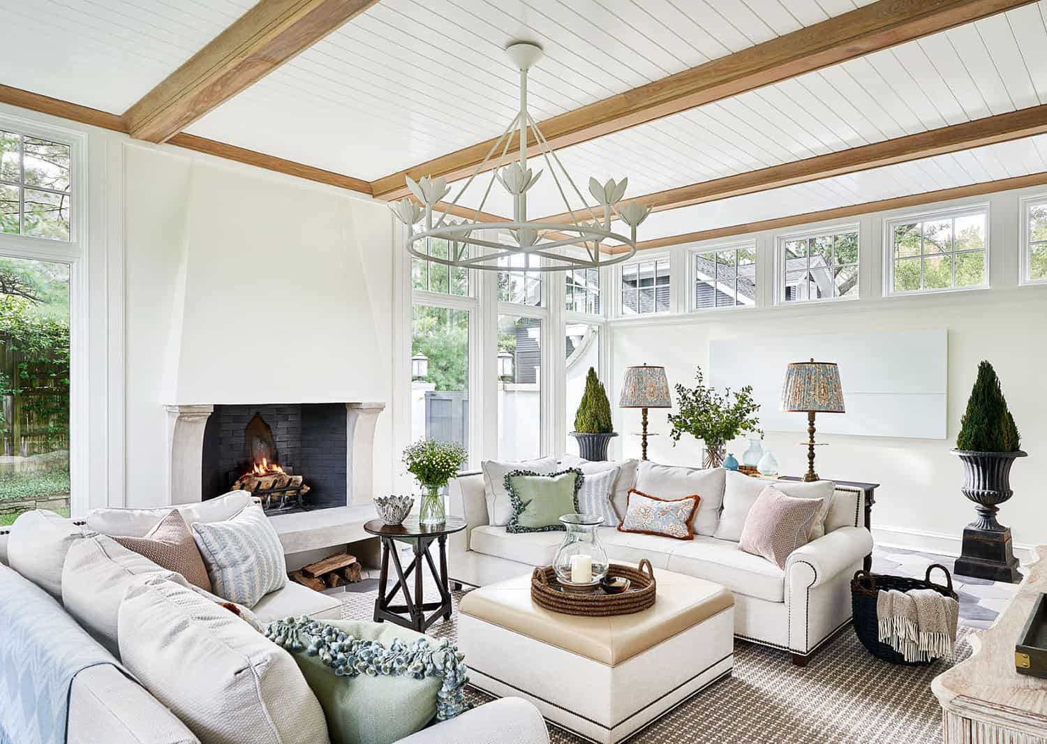 traditional-sunroom-with-fireplace