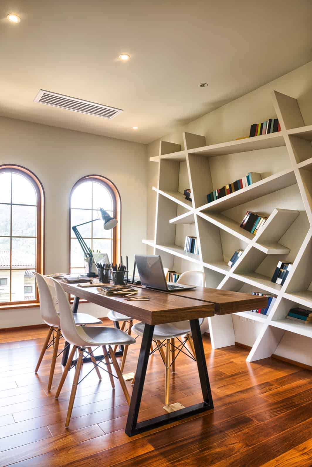 home-office-with-angular-bookshelf-design