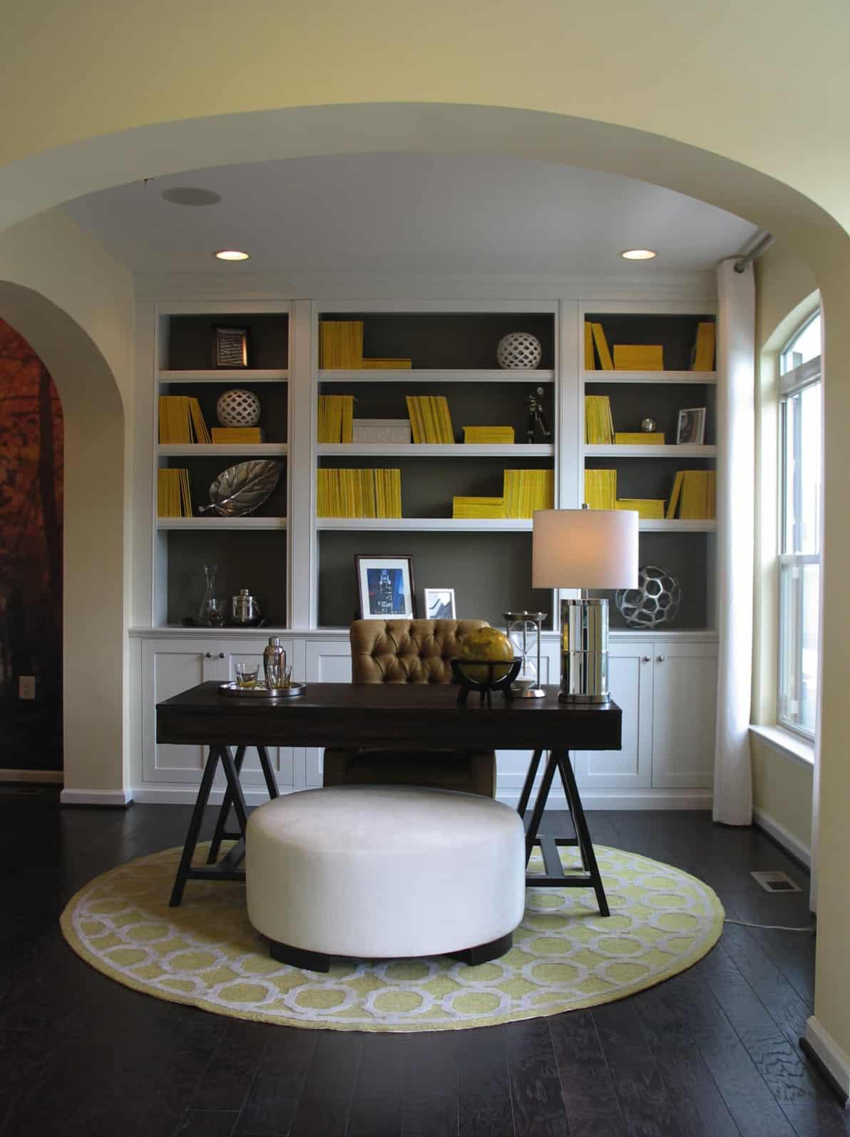 beautiful-home-office-with-bookshelf-wall