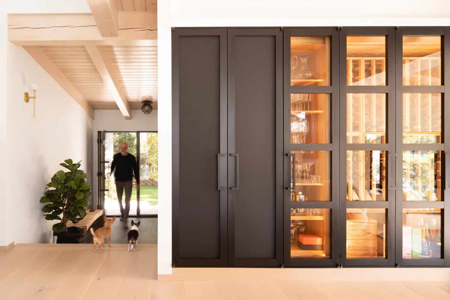 contemporary-lake-cottage-entry-with-wine-cellar