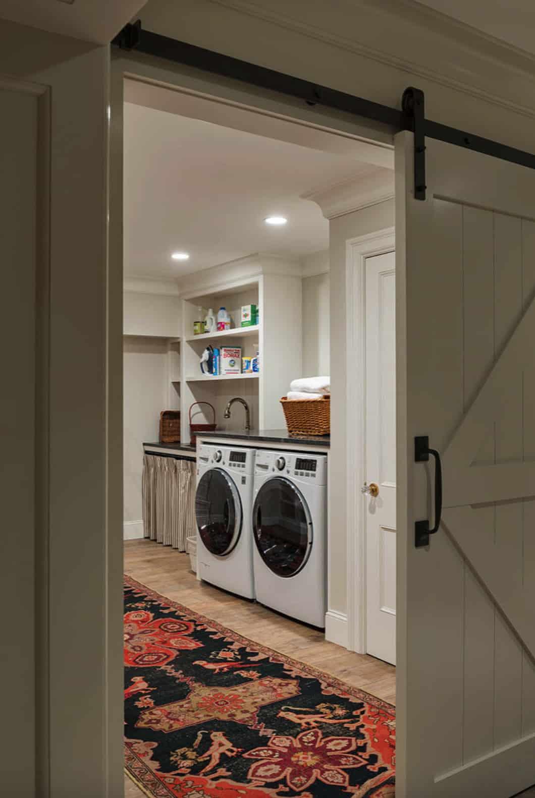 farmhouse-laundry-room-with-sliding-barn-door