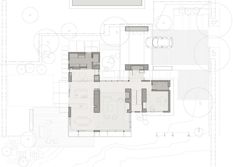 Plano de casa moderno de mediados de siglo