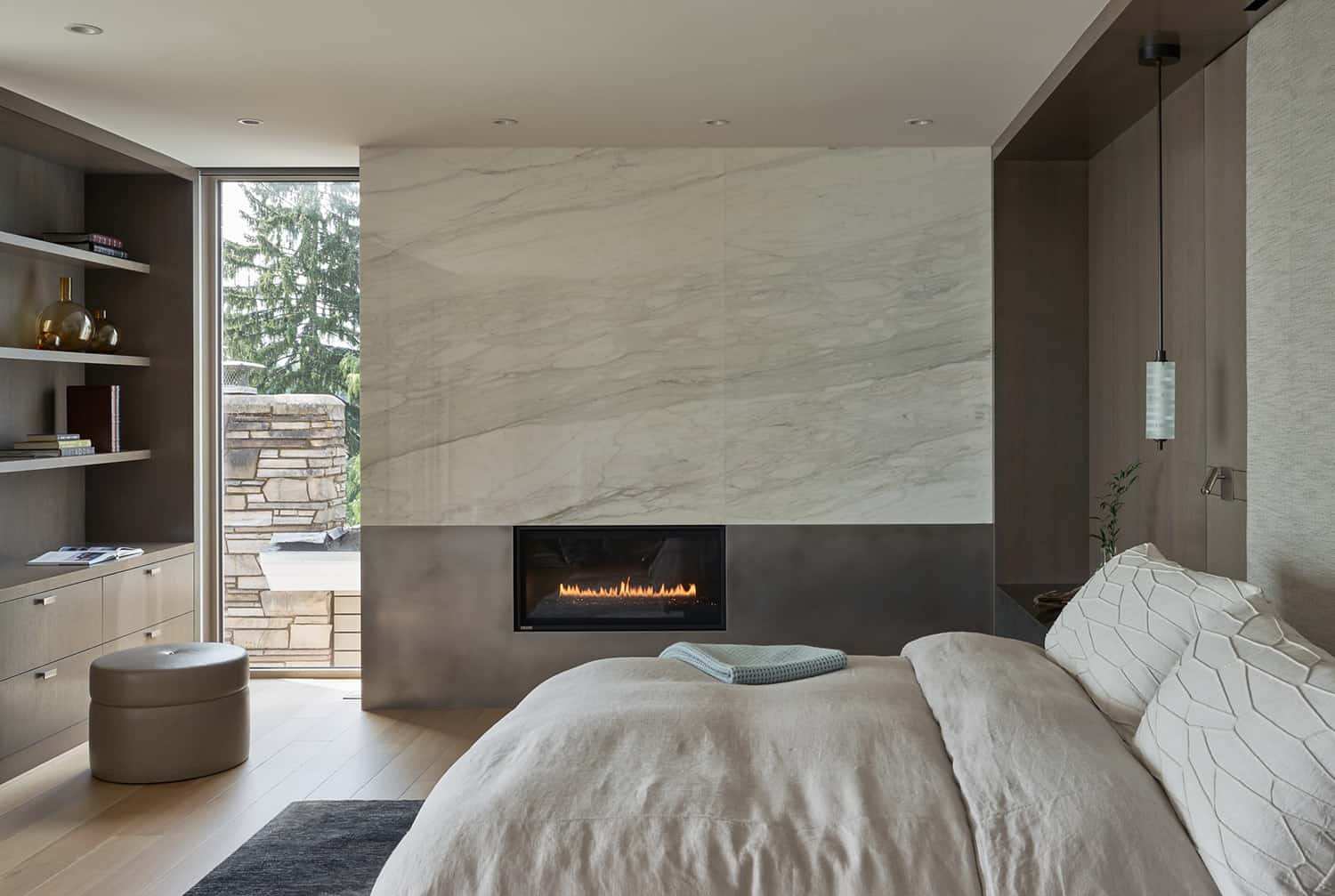 contemporary-bedroom-with-fireplace