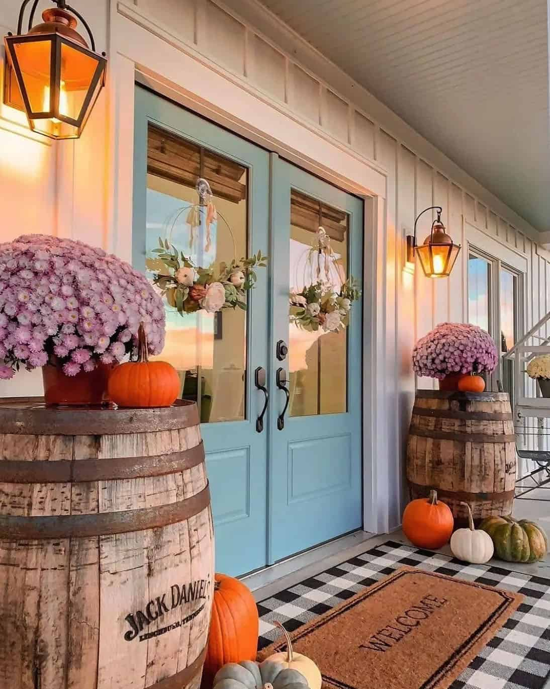 fall-decorated-front-porch-with-whiskey-barrels