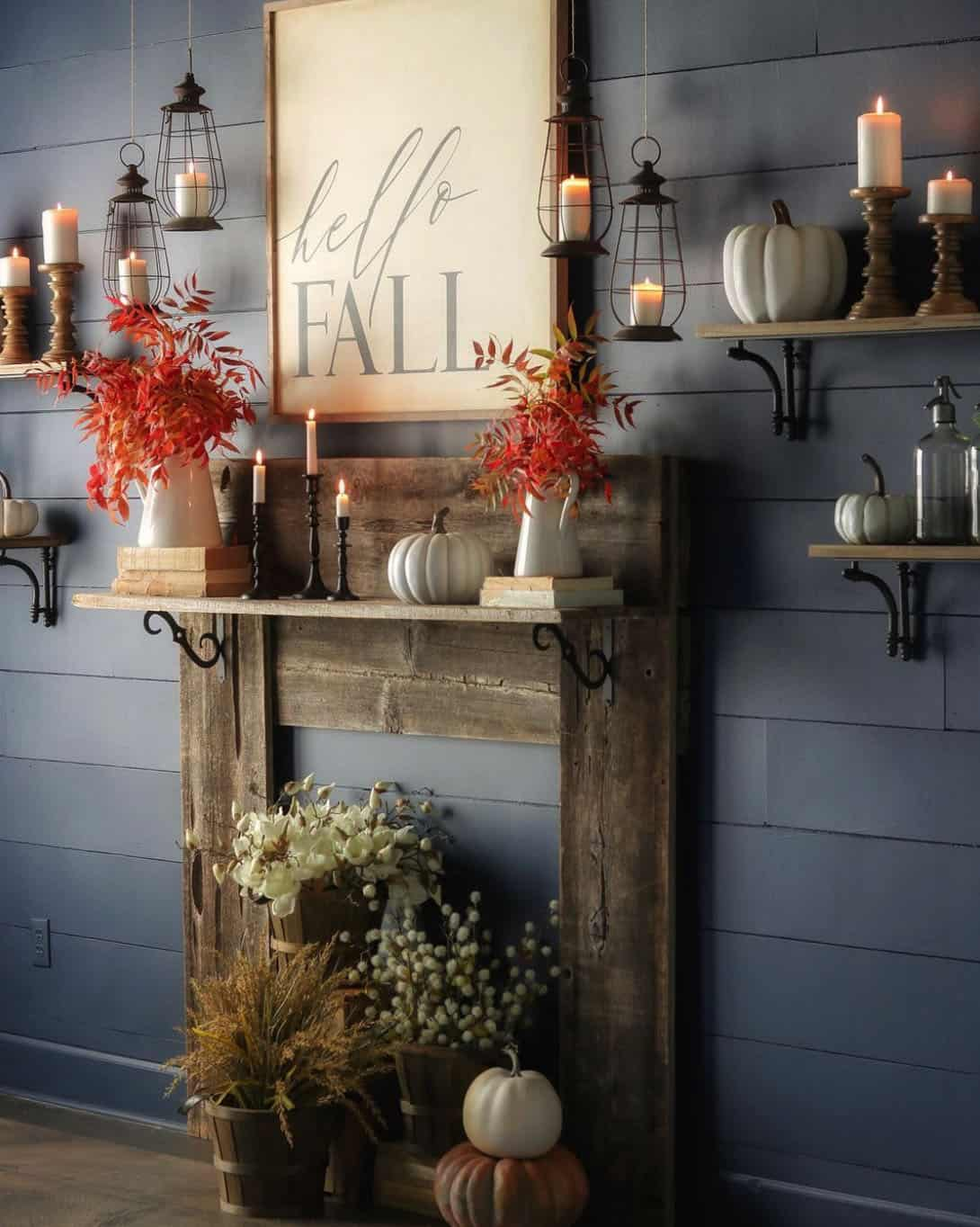 fall-dining-room-with-shiplap-wall-and-faux-wood-mantel