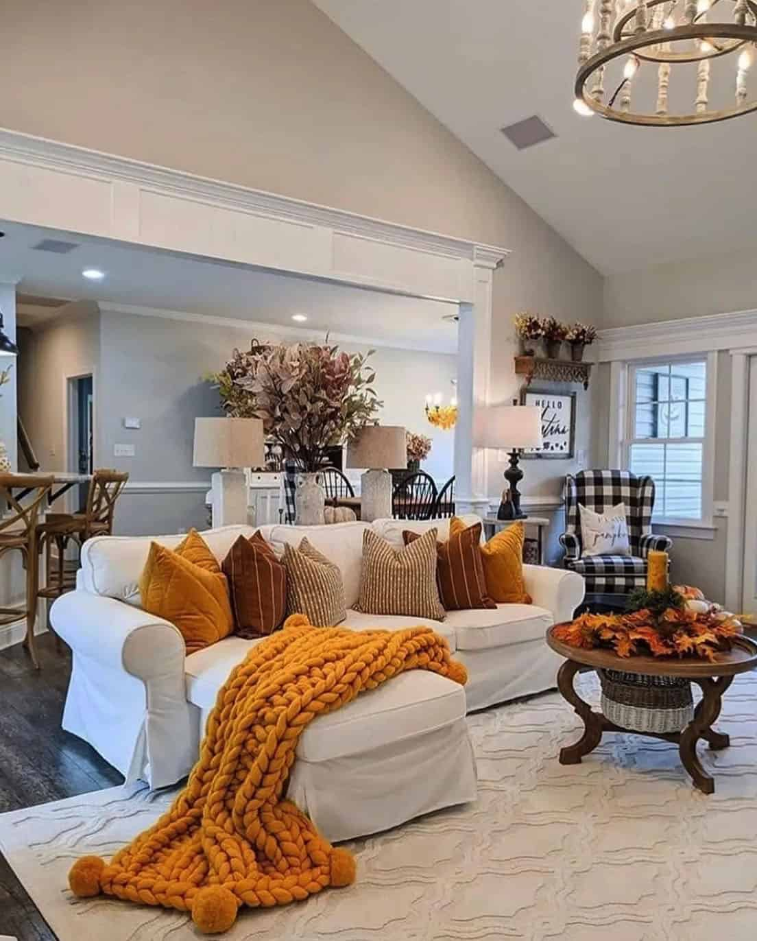 fall-decorated-living-room-with-chunky-knit-throw