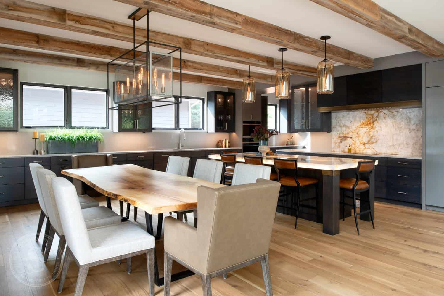 rustic-contemporary-dining-room-and-kitchen