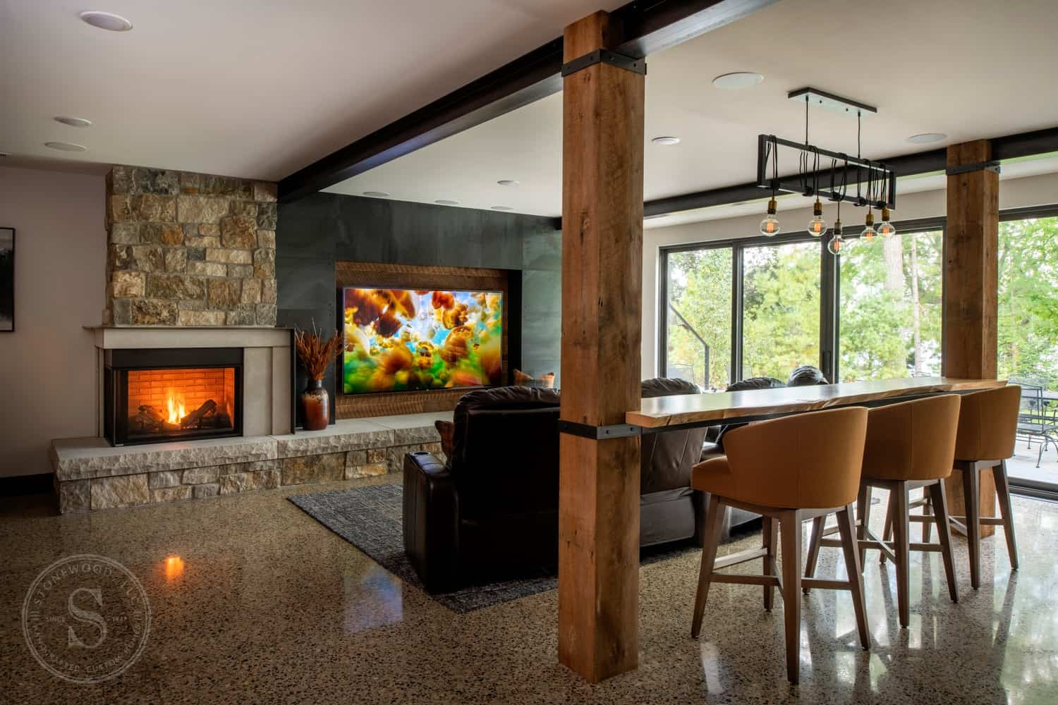 rustic-contemporary-basement-family-room