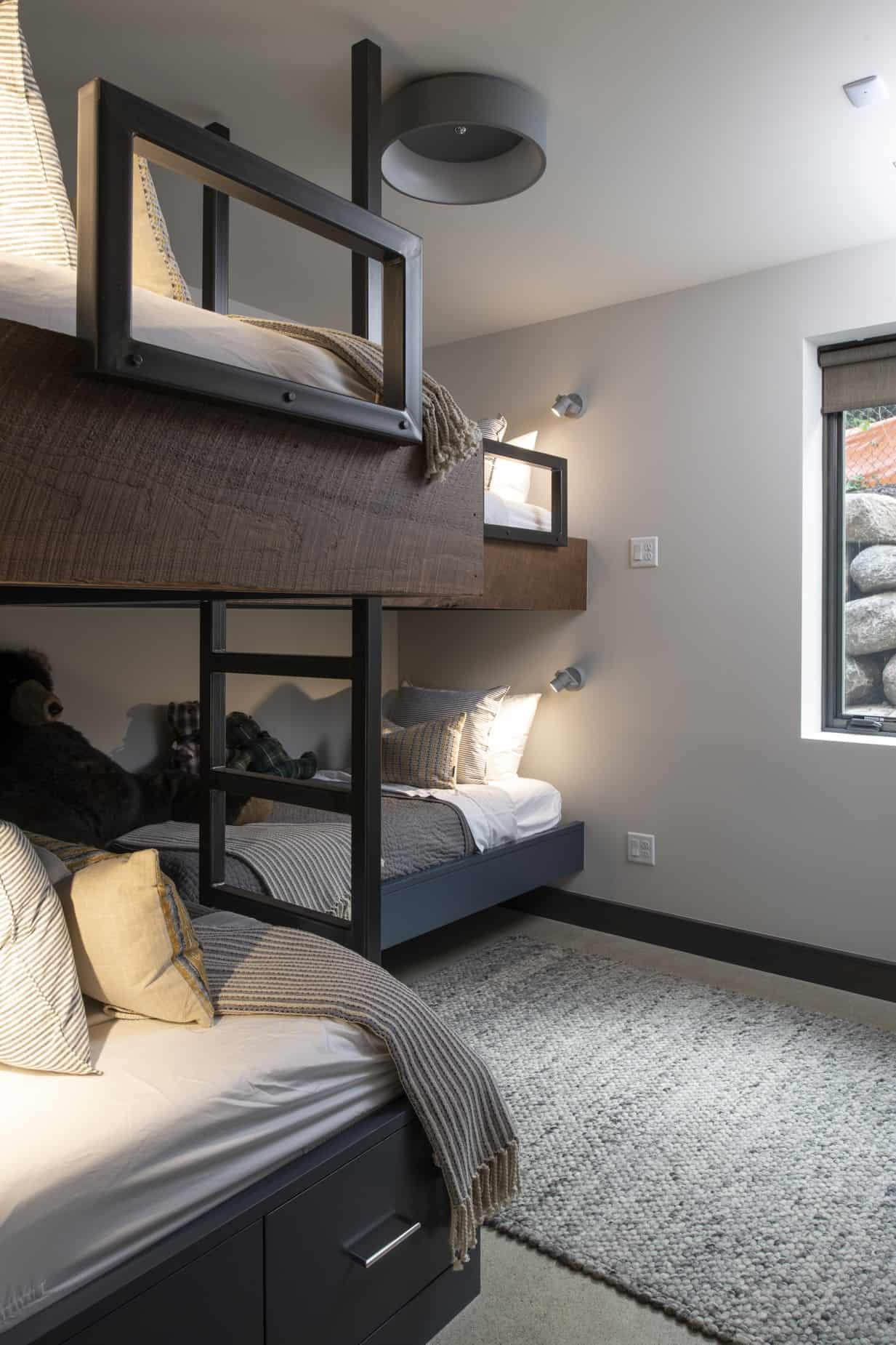 rustic-contemporary-basement-bunk-bedroom