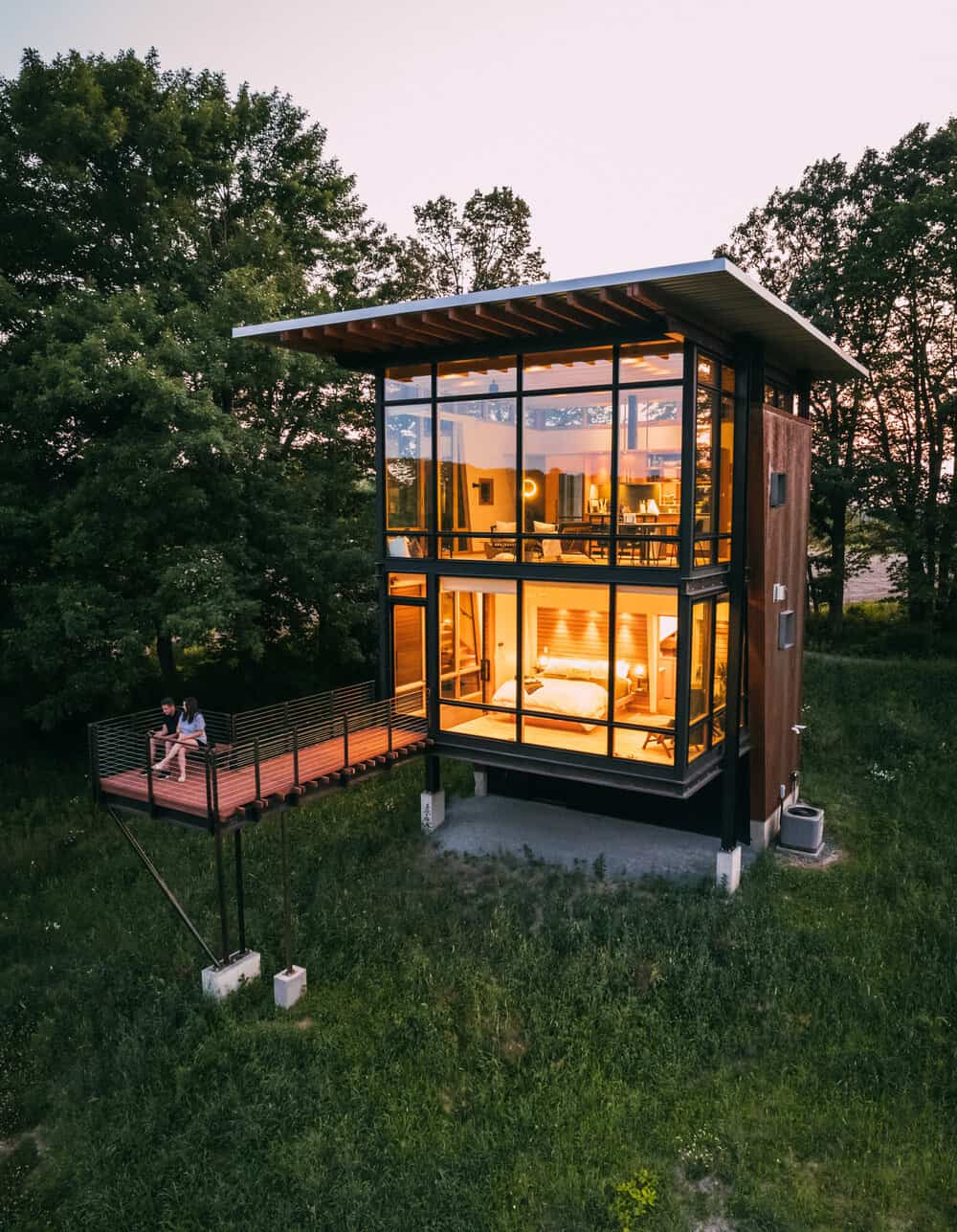 small-metal-cabin-exterior-dusk