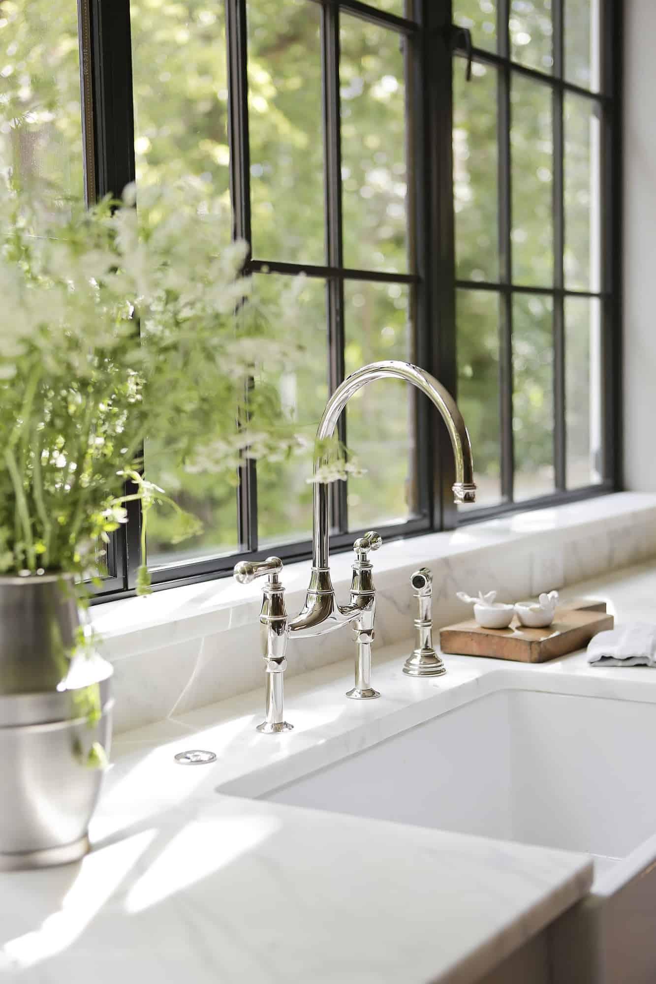 transitional-style-white-kitchen-sink-detail