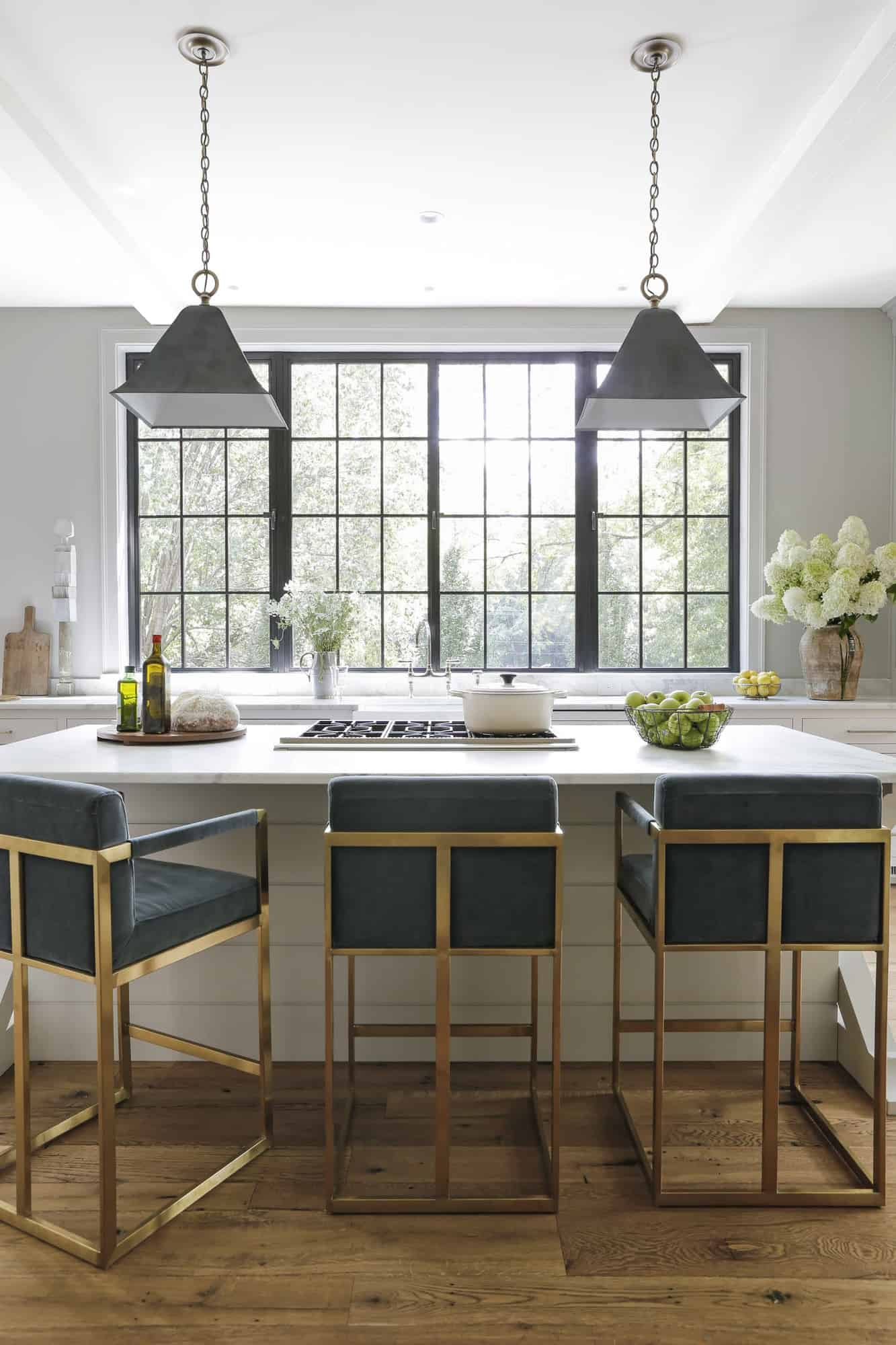 transitional-style-white-kitchen-island-with-bar-stools